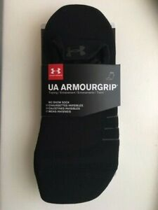 UNDER ARMOUR  Grip Two Pack Black & White No Show Training Socks Size 7-11