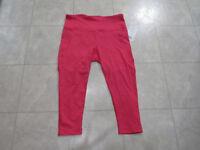 NWT Active Life Womens Mesh High Waisted Capri Leggings-Hot Pink-XXL-MSRP-$79