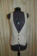 GAP Women's Knit Vest Beige Wool Blend Button Down Top Size Small New with tags