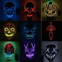 Halloween LED Mask Scary Cosplay Costume Mask Flash Glowing Creepy Mask
