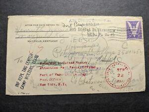 APO 537 BIZERTE, TUNISIA 1944 WWII Army Cover FORWARDED APO 1
