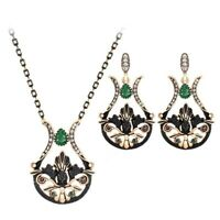 Turkish Style  necklace and earrings set with green colored stones