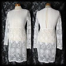 Gothic White Lace Detail HEARTBROKEN Sheer Dress 8 10 Victorian Romantic Vintage