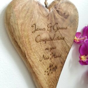 Personalised Solid Wooden Heart Engraved (New Home Congratulations Gift Present)