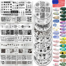 Nail Art Stamping Plates Flower Geometry Image Stamp Template Rectangle Round US