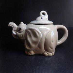 Théière éléphant céramique porcelaine gris design vintage art déco table N7433