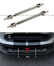 Silver Adjustable Front Bumper Lip Splitter Strut Rod Tie Support Bar For Ford