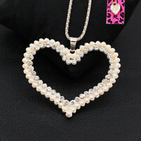 Betsey Johnson Pearl Crystal Big Love Heart Pendant Sweater Chain Necklace Gift