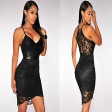 Sz 8 10 Black Lace Sleeveless Cocktail Party Formal Prom Slim Fit Minidress