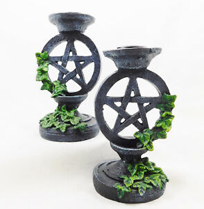Wiccan Gothic Pentagram Ivy Candlesticks Set 2 Candle Holders Wicca Witchcraft