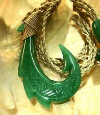 """30Mm Hand Carved Green Jade Hawaiian Makau Mano Shark Fish Hook Necklace 27"""""""