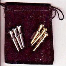 "Cribbage Board Pegs,6-Metal ""Irish Crown-Top"", 3-Brass+3-S.Steel, Velvet Pouch a"