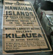 "Original 1920s Hawaii Travel Promotional Travel Poster Volcano Kilauea 42 x84"""