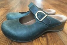 Dansko Mary Jane Slip-On Clogs Distressed Teal Leather Mocs Shoes sz 6.5-7 (37)