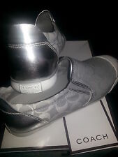 COACH  Beale   Slip on Sneakers Shoes   Silver  NEW In Original Box