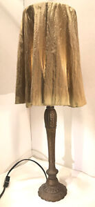 """23"""" Cast Metal Table Lamp With Old Gold Finish~Dupioni Silk Shade~2 Way Switch"""