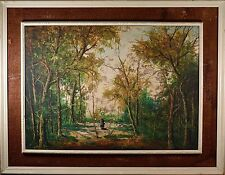 Mid Century Oil Paining on Canvas, Girl in Woods, Signed & In Period Frame! NICE