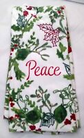 PEACE & JOY POINSETTIA & HOLLY KITCHEN TOWEL SET OF 2 ST. NICHOLAS SQUARE NEW