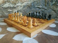 Wooden old chess set 1971s made vintage USSR white black chessmen pieces soviet