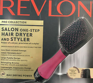 Revlon Pro Collection Salon One-Step Hair Dryer and Styler Paddle Brush pink