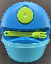 Tupperware Salad to Go 6 1/4 Cup Bowl Utensil Set Midget Blue Green New