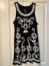 Lauren Michelle Embroidered Flowers Black Cream Dress Size S M (4-6)
