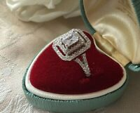Vintage Jewellery Gold Ring with White Sapphires Antique Art Deco Jewelry sz L