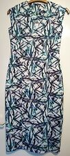 House of Fraser pied a terre drs palm tree print dress size 10 Bnwt Ivory blue