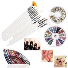 15PCS Nail Art Design Pen Brush Kit 30 Nail Decoration Tape Rhinestones Set