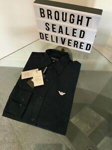 Armani regular fit men's long sleeve navy shirt size medium new and tagged