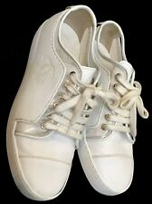 Chanel Sneaker White Leather Pvc Trim Lace Up Size 39 1/2
