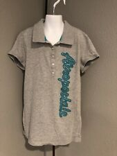 Girls Aeropostale Polo Shirt Grey with Teal Sequins Size Large  F2