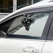 """Triple Camera Suction Cup Mount Holder 12"""" Stainless Steel Tether"""