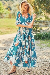 JAASE WOMEN'S INDIANA MAXI DRESS BLUE IRIS PRINT TEAL BLUE FLORAL