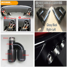 2X Left&Right Glossy Real Carbon Fiber Car Exhaust End Dual Pipe Muffler H Style