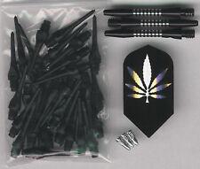 """""""The 420"""" Soft Tip Dart Upgrade Kit: Black Tips, Pot Leaf Flights, Shafts & More"""