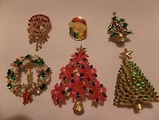 VINTAGE 6 LOT CHRISTMAS THEMED BROOCHES PINS INCLUDES THE PINK BEAUTY BY LIA
