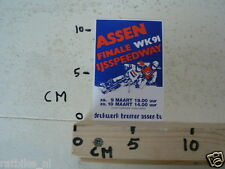 STICKER,DECAL ASSEN IJSSPEEDWAY  FINALE WK 1991 HOLLAND