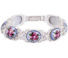 """Bracelet Finift Hand Painted Russia Blue Pink Flowers 7"""" Copper Silver Plated"""