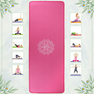 Yoga Mat for Exercise Pilates Non Slip NBR Foam with Carry Strap 10mm Latex Free