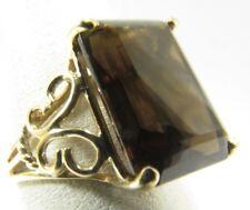 14K Yellow Gold 13Ct Smokey Topaz Ring detailed sides Size 7.5 SAVE 600 #R529