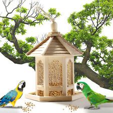 Wooden Bird Feeder Hexagon Shaped With Roof Hanging For Garden Yard Decor Us