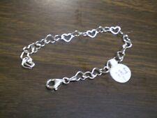 925 Sterling Silver Ladies Heart Link Bracelet      3.3 grams