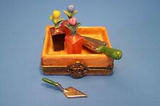 Flowers Pots In Planter,Tools, authentic French Limoges Box ( New )