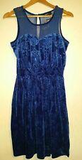 Pretty Blue Velvet and Mesh Dress by Jasmine London size 12 BNWT