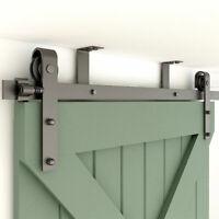 4FT-20FT Sliding Barn Door Hardware Kit Track Roller Closet Ceiling Mount Rail