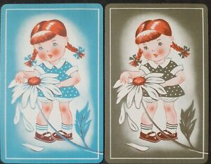 """Swap cards vintage - PAIR OF GENUINE VINTAGE """"GIRL WITH A BIG DAISY"""""""