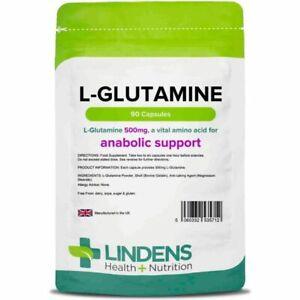 Lindens L-Glutamine - Amino Acids 500mg 90 Capsules Anabolic Support