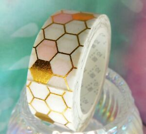 1 x Pink & Gold Honeycomb Washi Tape Planner Scrapbooking Craft Masking wrapping