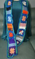 Women's long blue green boarder A1# HIPPY BOHO RETRO 70' s SCARF crochet NEW